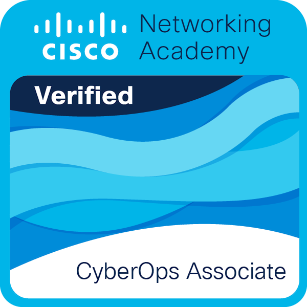 Badge do curso CyberOps Associate, da Cisco Networking Academy